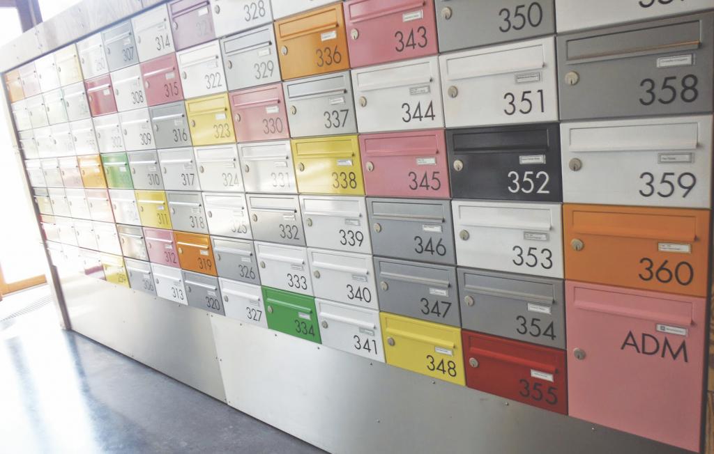Mail boxes at Tietgentskollegiet